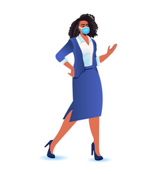Businesswoman wearing mask to prevent coronavirus vector
