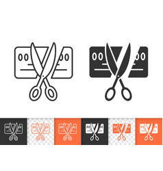 Card scissors cut simple black line icon vector