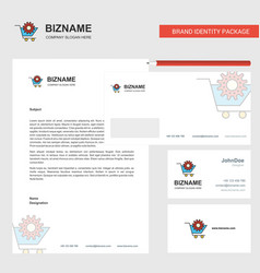 cart setting business letterhead envelope and vector image