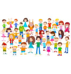 Cartoon children huge group background vector