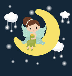 Cartoon fairy sitting on the moon cartoon fairy vector