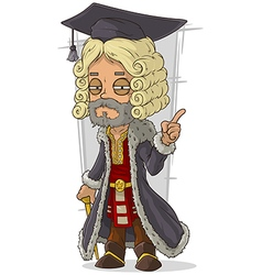 Cartoon old rich medieval blond judge vector image
