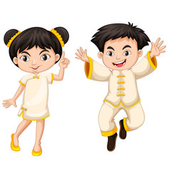 chinese boy and girl in traditional costume vector image