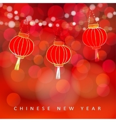 Chinese new year card with paper lanterns and vector image