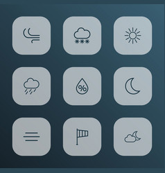 climate icons line style set with breeze snowfall vector image