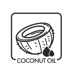 coconut oil product and drop monochrome sketch vector image