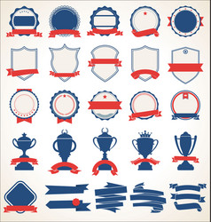 Collection badges and labels blue and red 08 vector