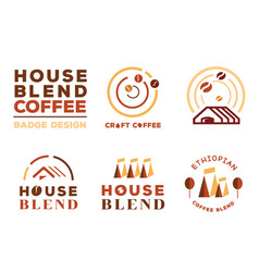 Colorful house blend coffee badge design vector