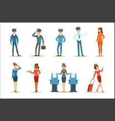 Commercial flight board crew collection air vector
