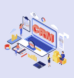 Crm software isometric customer client vector