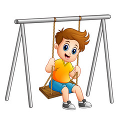 cute boy playing on swing vector image