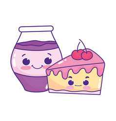 Cute food slice cake and jar with jam sweet vector