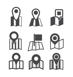 Different map web icons vector