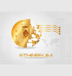 Disintegrated coin of ethereum design vector