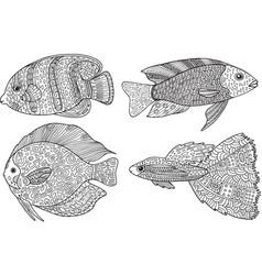 Doodle entangle fish zen art coloring page vector