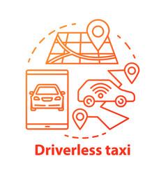 Driverless taxi concept icon robo-cab navigation vector