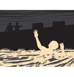Drowning man vector