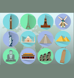 famous world landmarks travel and tourism vector image