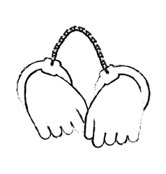 Figure hand with handcuffs icon image vector