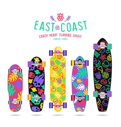 Fruit prints in flat style for longboard vector