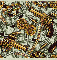 Gangster and money vintage seamless pattern vector