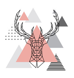 Geometric head of a deer vector