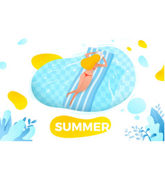 girl on inflatable mattress vector image
