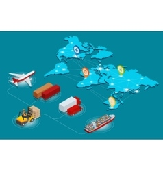 Global logistics network Web site concept Flat 3d vector image