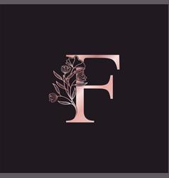 Gold rose flower letter f luxury logo elegant vector