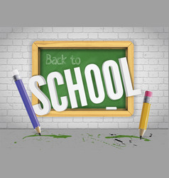 green chalkboard with pencils welcomes back to vector image
