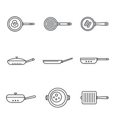 Griddle pan icon set outline style vector