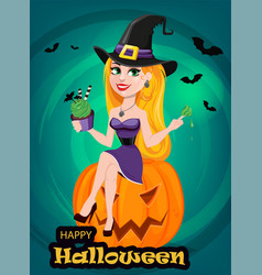 halloween greeting card beautiful lady witch vector image