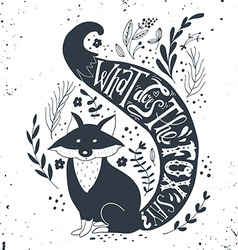 Hand drawn vintage label with a fox and vector