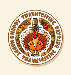 happy thanksgiving day card with turkey vector image
