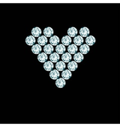 Heart composition made of diamonds vector