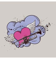 heart trumpets vector image vector image