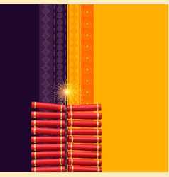 Hindu diwali festival cracker background vector