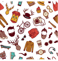 hipster doodle icons background or pattern vector image