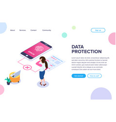 isometric data protection concept error vector image