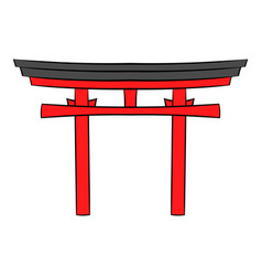 Japan gate icon cartoon vector