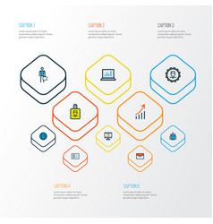 job icons colored line set with computer analytics vector image