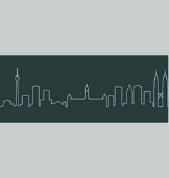 Kuala lumpur single line skyline vector