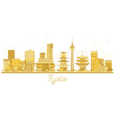 Kyoto japan city skyline golden silhouette vector