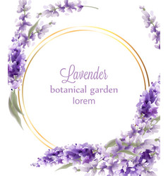 lavender gold wreath card watercolor flowers vector image