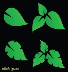 Leaf and think green on black background vector