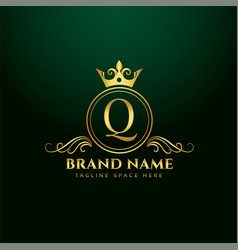letter q ornamental logo concept with golden crown vector image