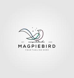Line art magpie bird logo symbol design vector