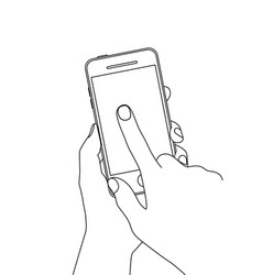 line drawing finger touching a smartphone scree vector image
