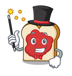 magician bread with jam mascot cartoon vector image