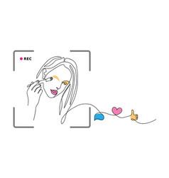 Makeup blogger girl vector
